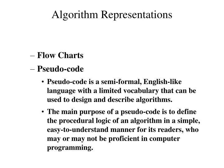 Algorithm Representations