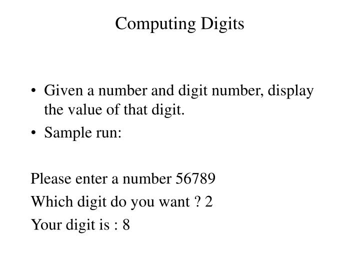 Computing Digits