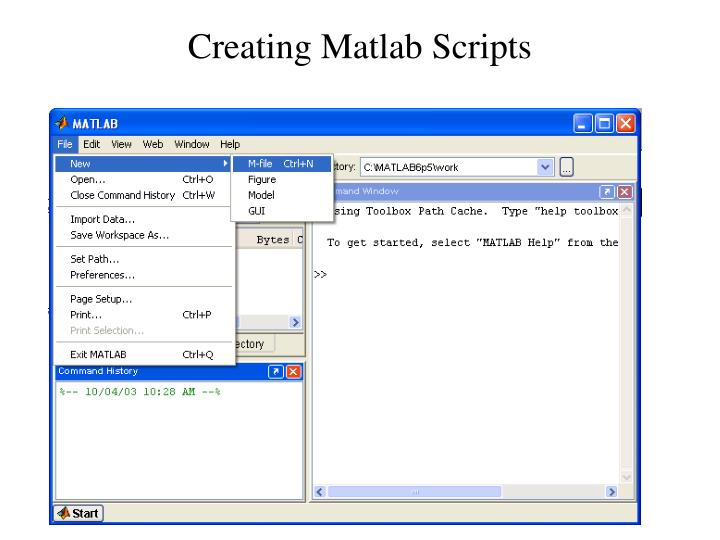 Creating matlab scripts