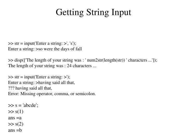 Getting String Input