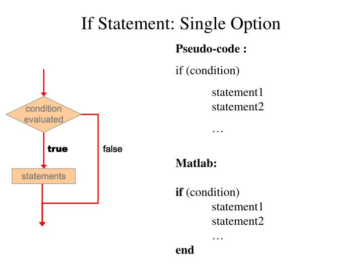 If Statement: Single Option