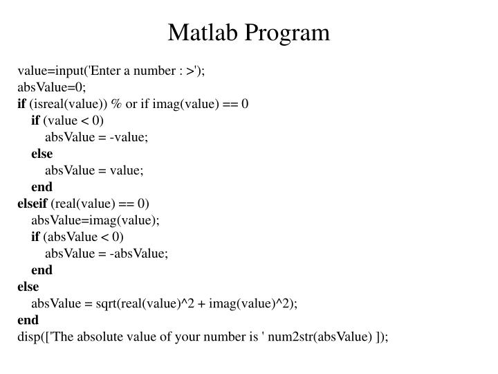 Matlab Program