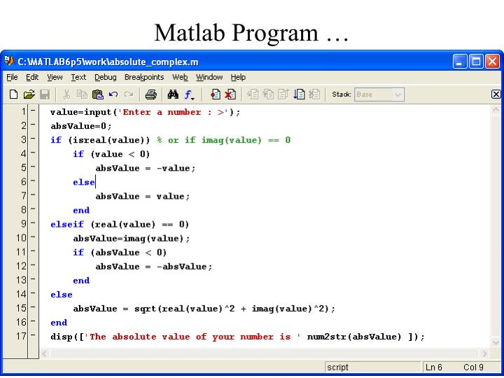 Matlab Program …
