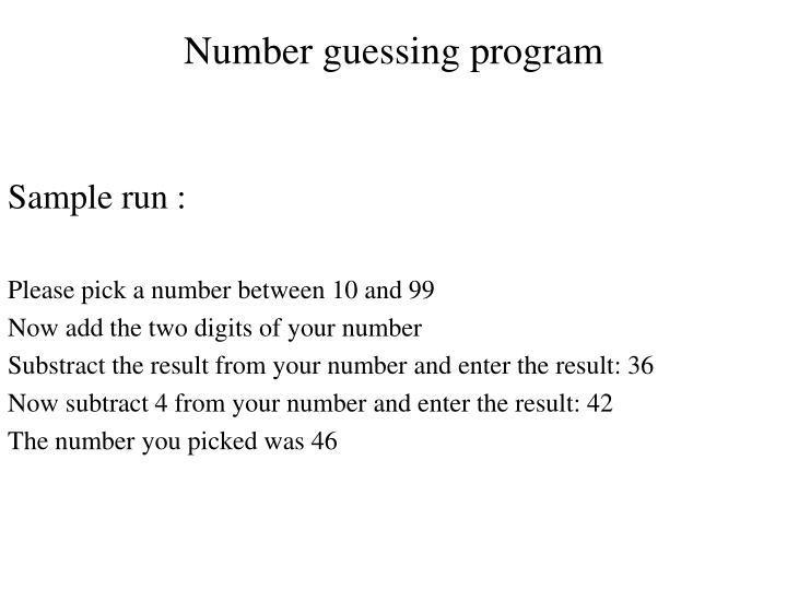 Number guessing program