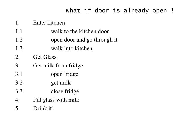 What if door is already open !