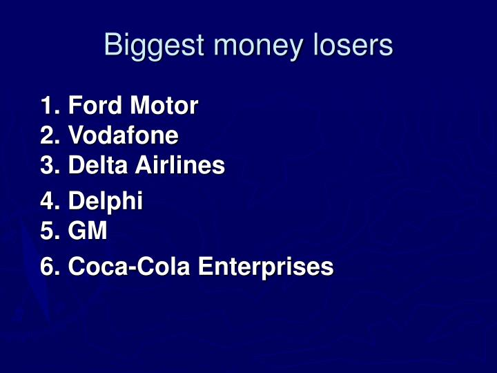 Biggest money losers