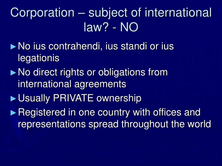 Corporation subject of international law no