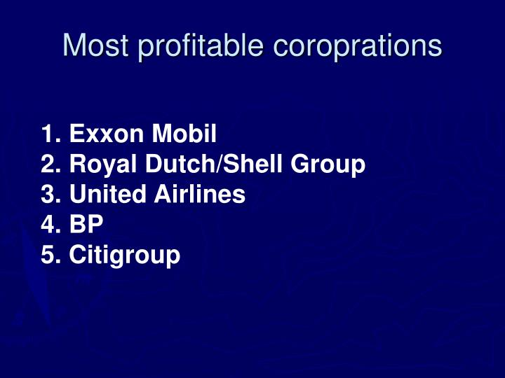 Most profitable coroprations