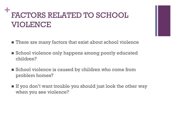 FACTORS RELATED TO SCHOOL VIOLENCE