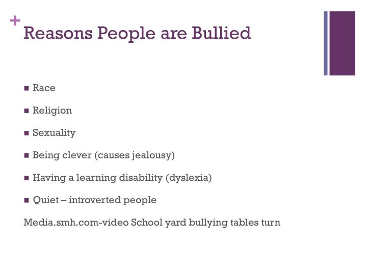 Reasons People are Bullied