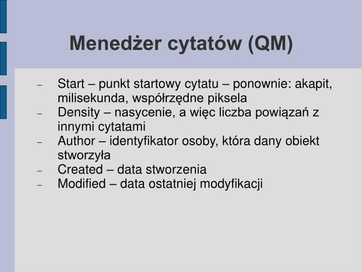 Menedżer cytatów (QM)