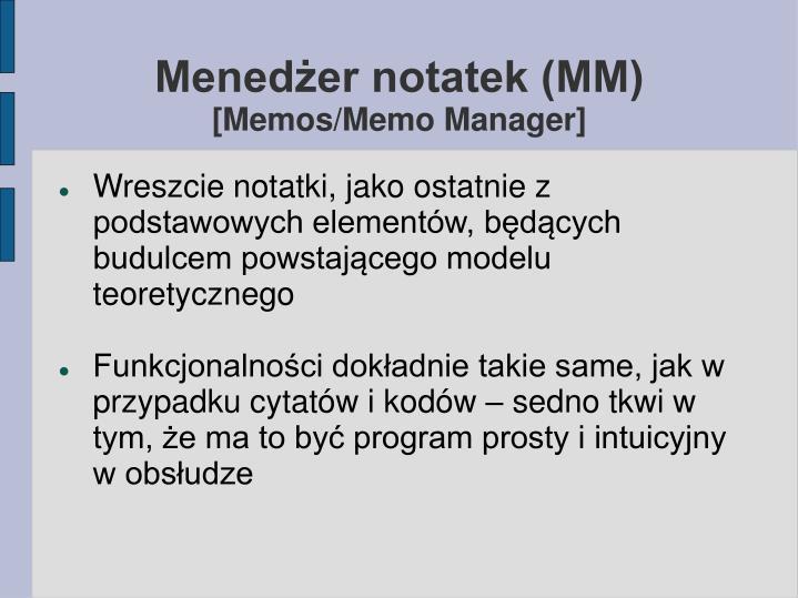 Menedżer notatek (MM)