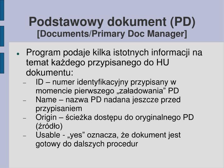 Podstawowy dokument (PD)