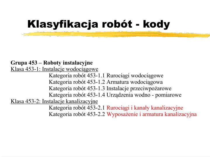Klasyfikacja robót - kody