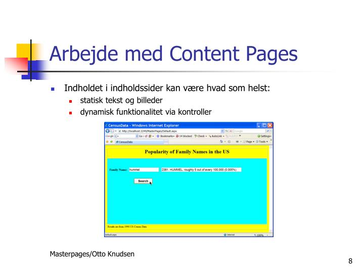 Arbejde med Content Pages