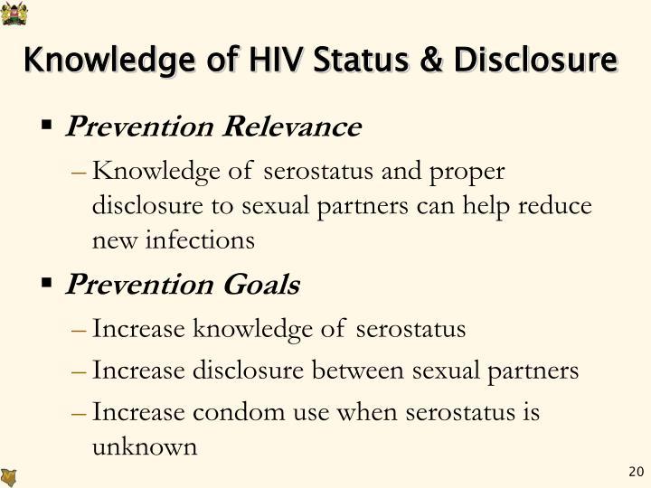 Knowledge of HIV Status & Disclosure