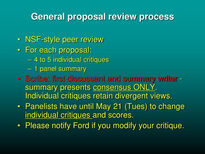 General proposal review process