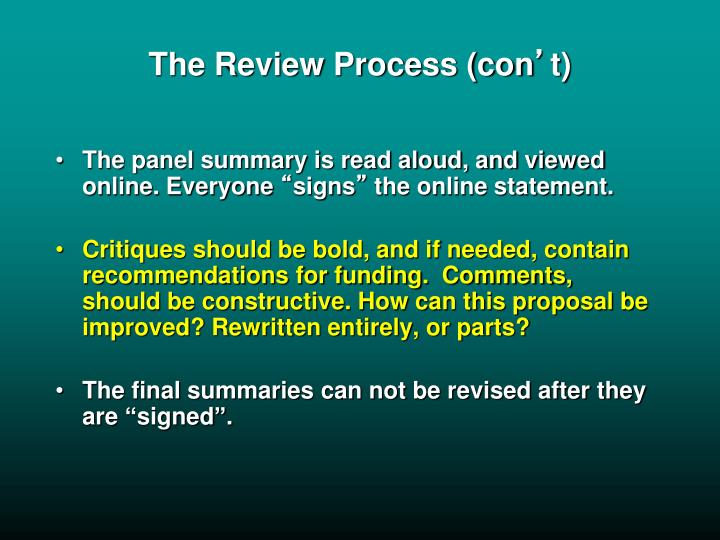 The Review Process (con