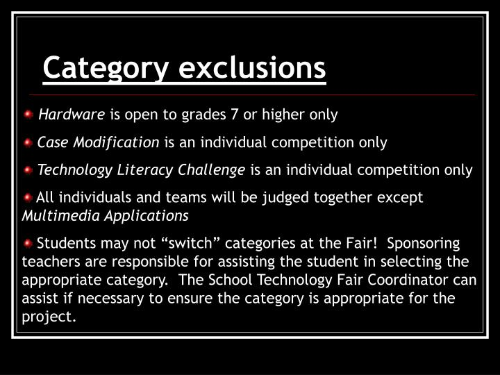 Category exclusions