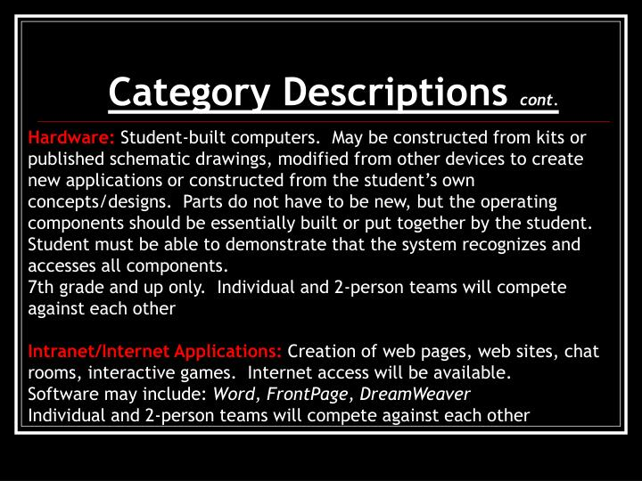 Category Descriptions