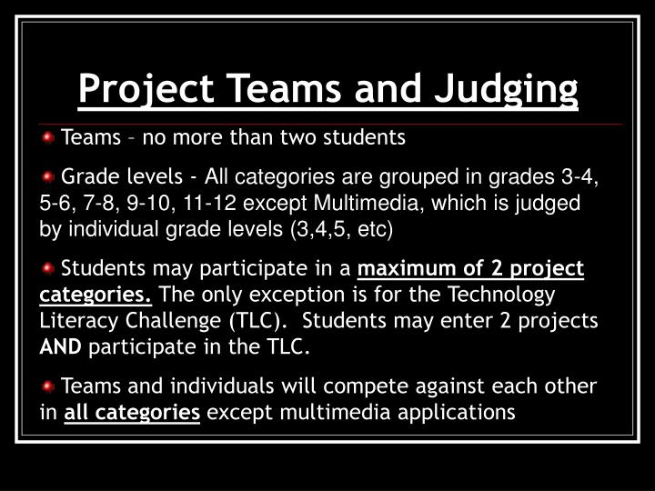 Project Teams and Judging