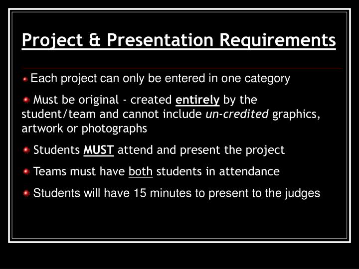 Project & Presentation Requirements