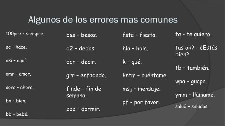 Algunos de los errores mas comunes