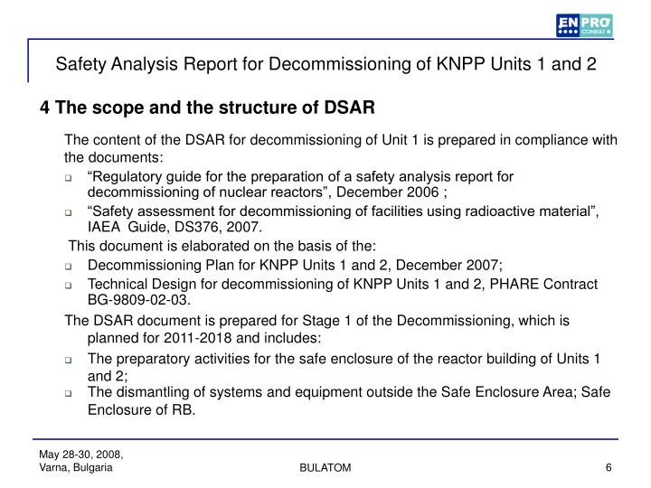 Safety Analysis Report for Decommissioning of KNPP Units 1 and 2