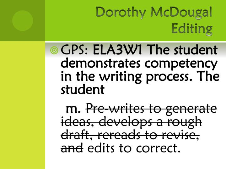 Dorothy McDougal  Editing