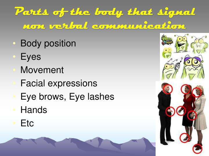 Parts of the body that signal non verbal communication