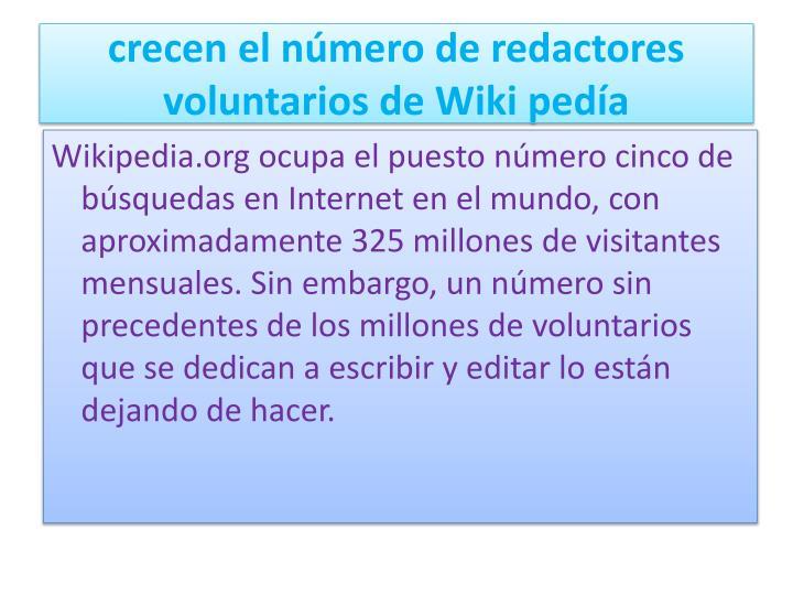 crecen el número de redactores voluntarios de Wiki pedía