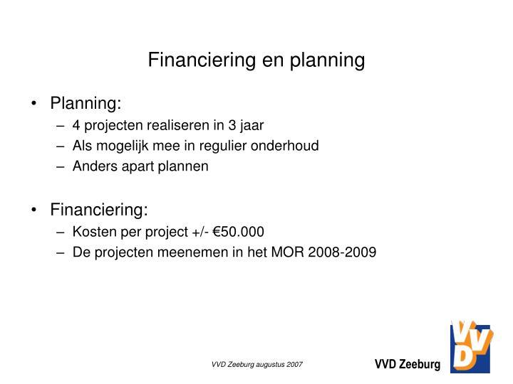 Financiering en planning