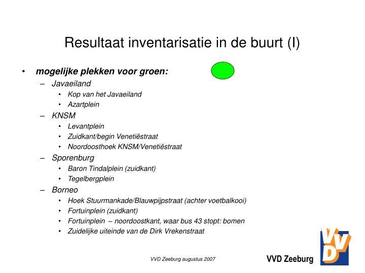 Resultaat inventarisatie in de buurt (I)