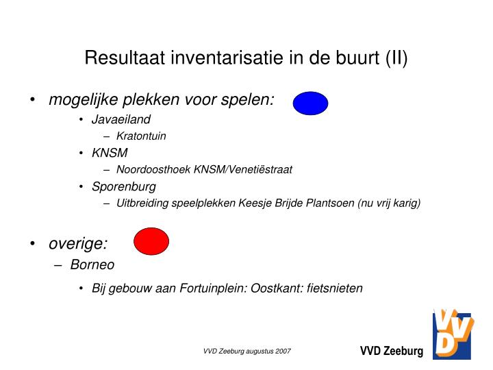 Resultaat inventarisatie in de buurt (II)