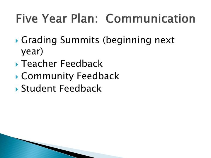 Five Year Plan:  Communication