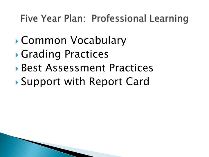Five Year Plan:  Professional Learning