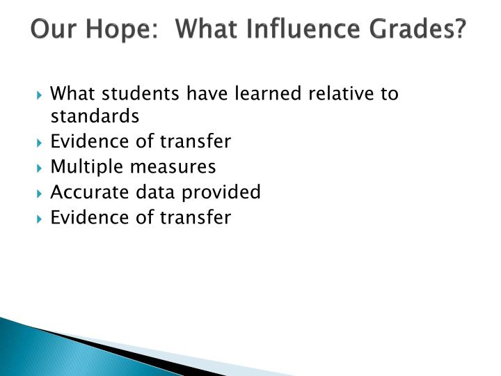 Our Hope:  What Influence Grades?