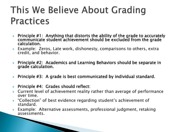 This We Believe About Grading Practices