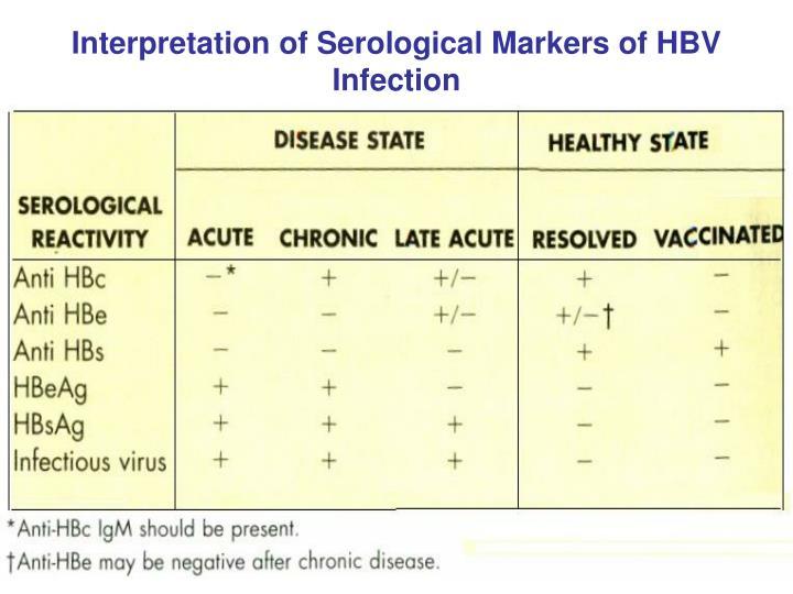 Interpretation of Serological Markers of HBV Infection