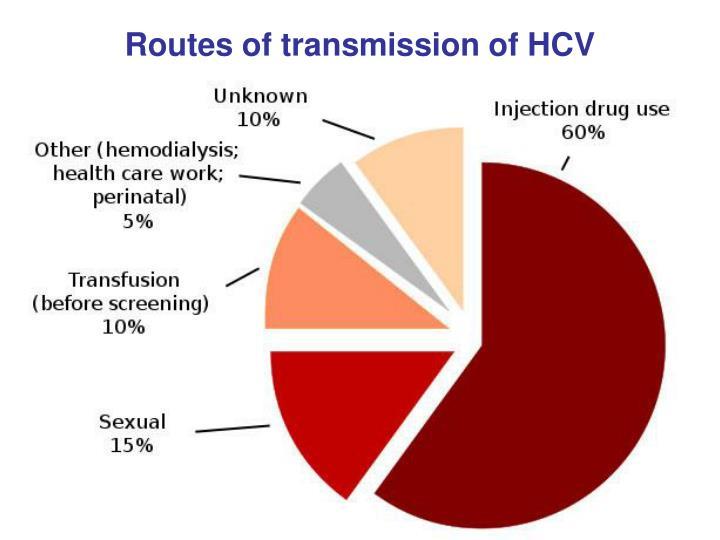 Routes of transmission of HCV