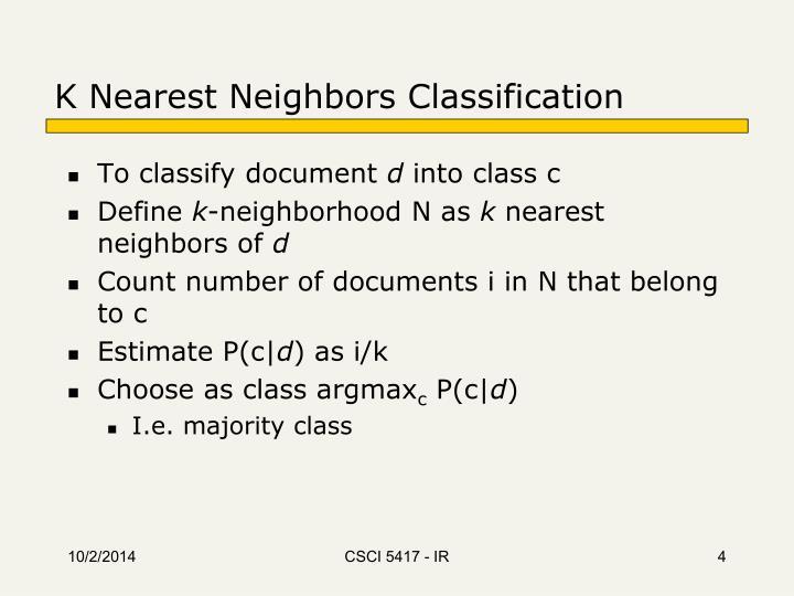 K Nearest Neighbors Classification