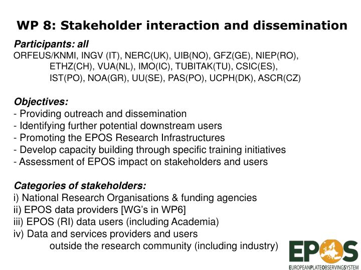 WP 8: Stakeholder interaction and dissemination