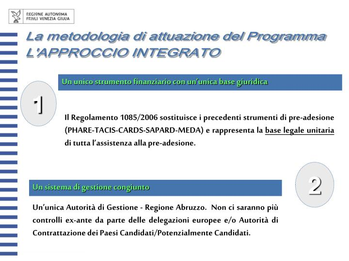 La metodologia di attuazione del Programma