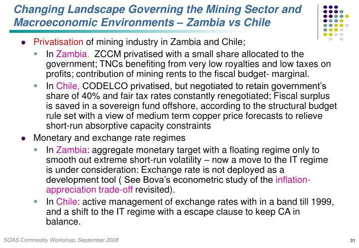 Changing Landscape Governing the Mining Sector and Macroeconomic Environments – Zambia vs Chile