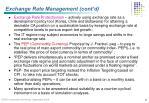 exchange rate management cont d