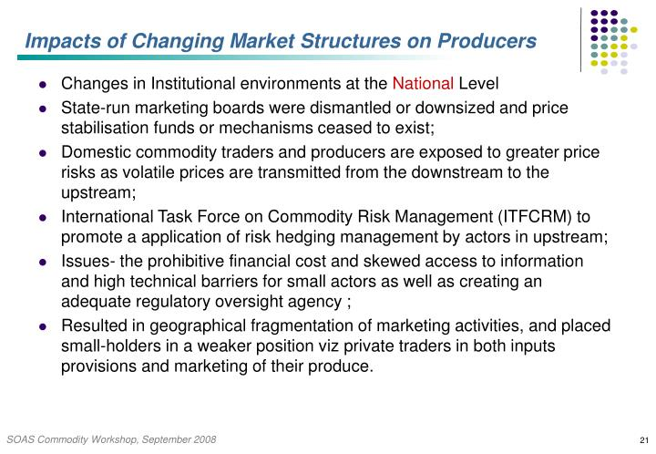 Impacts of Changing Market Structures on Producers