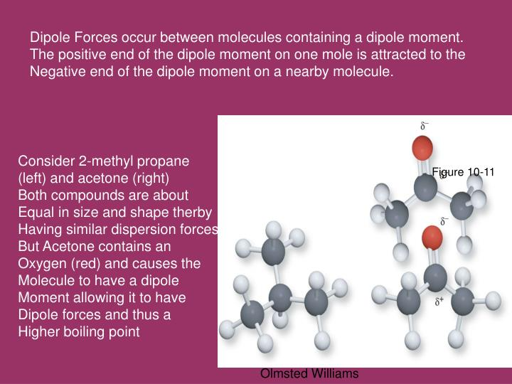 Dipole Forces occur between molecules containing a dipole moment.
