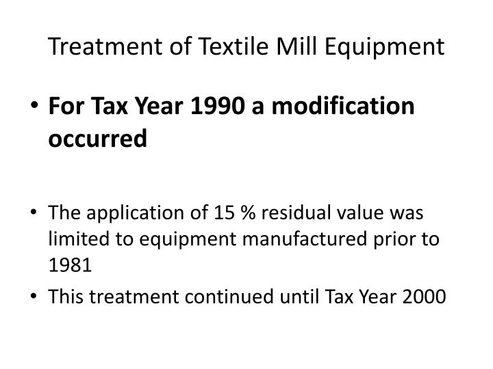Treatment of textile mill equipment1