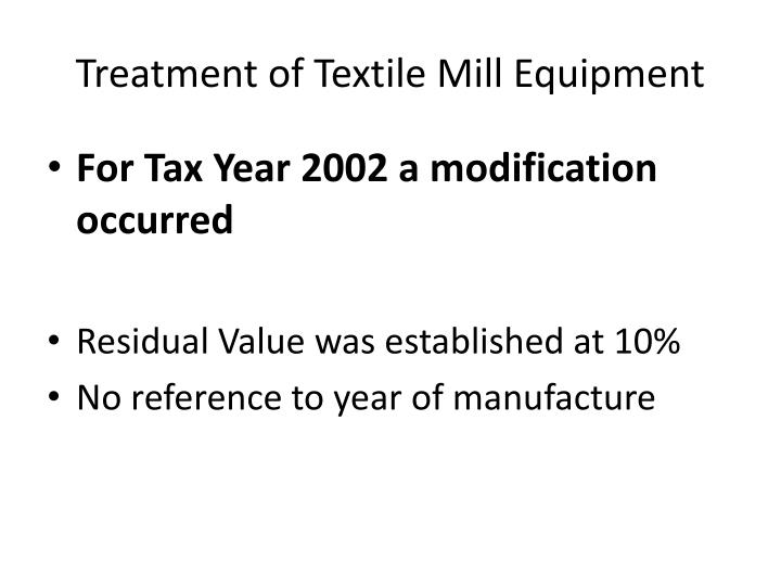 Treatment of Textile Mill Equipment