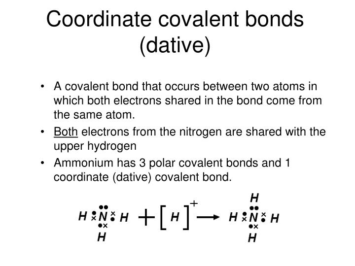 Coordinate covalent bonds (dative)